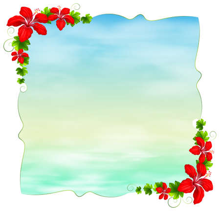 margen: Ilustración de una plantilla vacía con las fronteras de flores sobre un fondo blanco Vectores