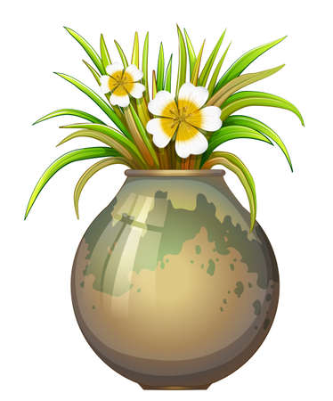 plant pot: Illustration of a big pot container with a flowering plant on a white background