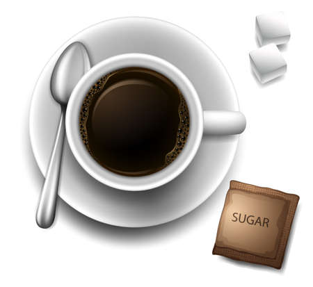 Illustration of a topview of a cup with a coffee on a white background Vector