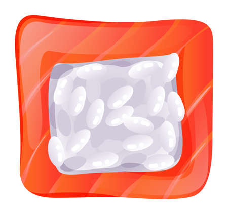 brown rice: Illustration of a topview of a sushi on a white background Illustration