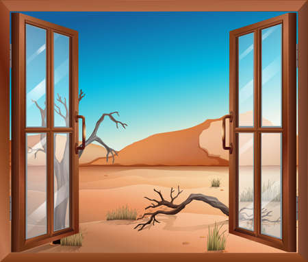 opened eye: Illustration of an open window with a view of the desert Illustration