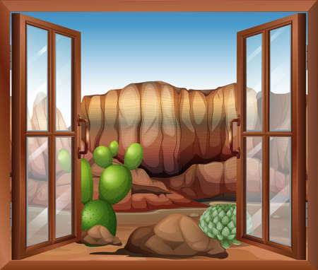 opened eye: Illustration of an open window with a view of the desert and the cactus plants