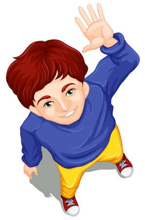 view: Illustration of a topview of a boy waving while facing the sky on a white background