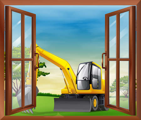 opened eye: Illustration of a bulldozer outside the window Illustration