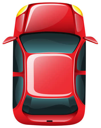 car tire: Illustration of a topview of a car on a white background Illustration