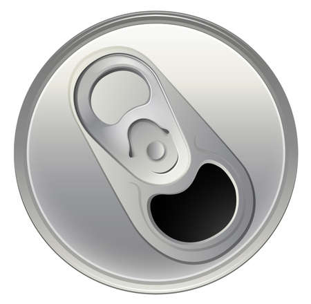 processed food: Illustration of a topview of a beverage can on a white background