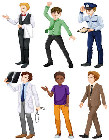 Illustration of the men with different works on a white background Vector
