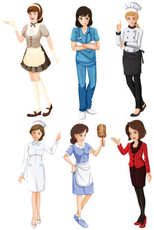 nursing sister: Illustration of the females with different works on a white background