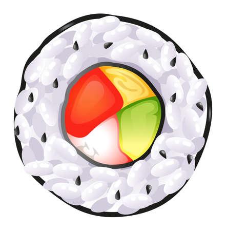 reis gekocht: Illustration von einem Sushi-Draufsicht auf wei�em Hintergrund