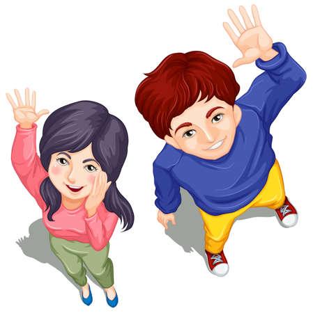 Illustratie van het bovenaanzicht van twee mensen zwaaien op een witte achtergrond