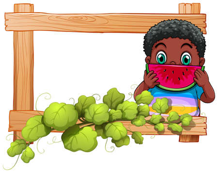 Illustration of a wooden frame with a boy eating watermelon on a white background