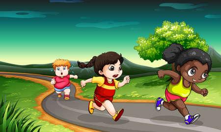 road runner: Illustration of the kids racing Illustration