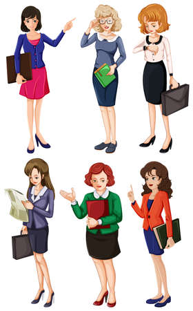 Illustration of the businessminded ladies on a white background Vector