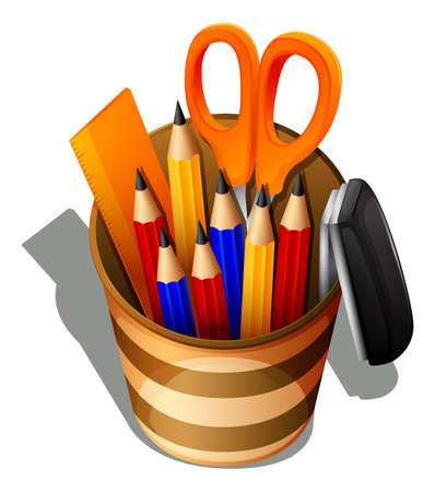 grapadora: Ilustración de una vista superior de los útiles escolares en un recipiente sobre un fondo blanco