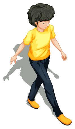 Illustratie van een bovenaanzicht van een man lopen op een witte achtergrond