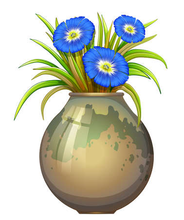 plantae: Illustration of a pot with blue flowers on a white background