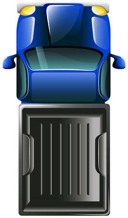 Illustratie van een bovenaanzicht van een vrachtwagen op een witte achtergrond Vector Illustratie