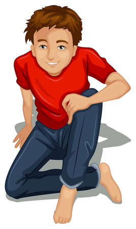 and barefoot: Illustration of a topview of a boy sitting down on a white background Illustration