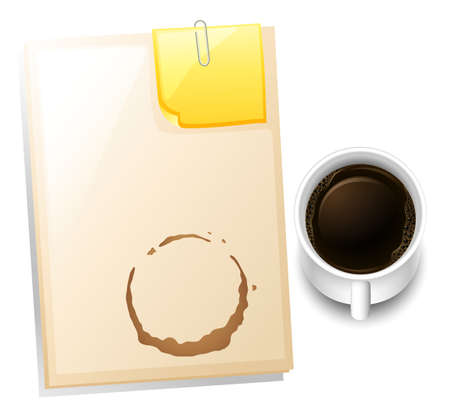 Illustration of a topview of a table with a coffee stain on a white background Vector