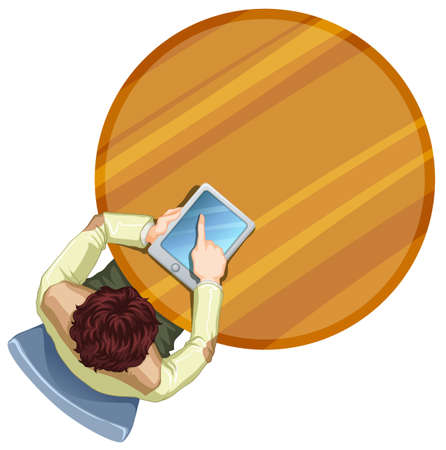 table top: Illustration of a boy with a gadget at the table on a white background Illustration