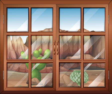 Illustration of a closed window at the desert Vector