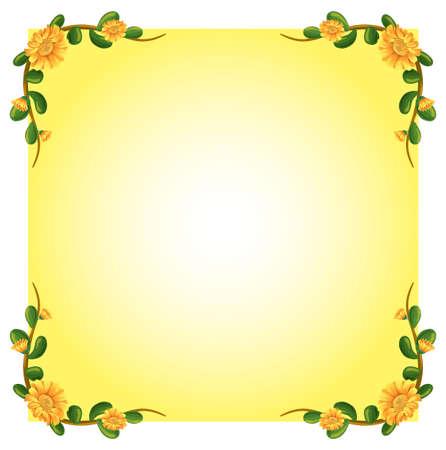 margen: Ilustración de una plantilla vacía con un diseño de la frontera planta con flores sobre un fondo blanco