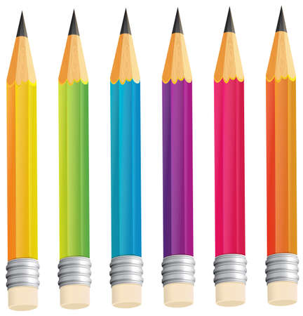 pointy: Illustration of a group of sharp pencils on a white background