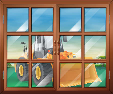 Illustration of a closed window with a bulldozer Vector