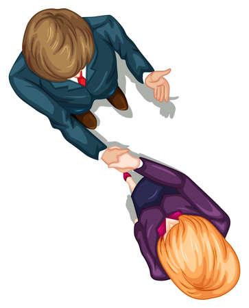 Illustratie van een bovenaanzicht van twee mensen schudden hun handen op een witte achtergrond