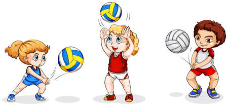 volleyball: Illustration of the kids playing with balls on a white background
