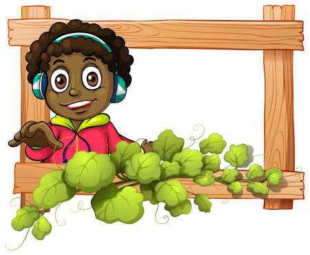 dark complexion: Illustration of a frame with a boy and plants on a white background