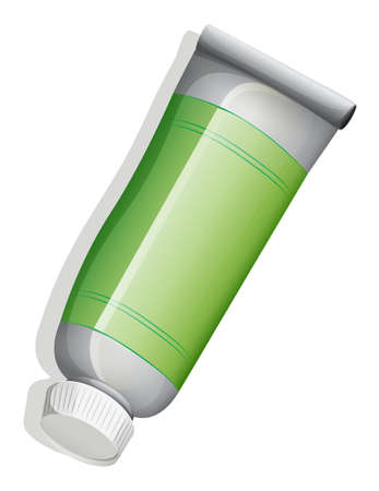 toothpaste tube: Illustration of a green medicinal tube on a white background