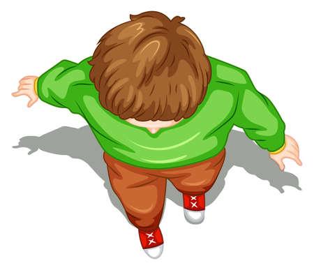 cenital: Ilustraci�n de una vista superior de un hombre caminando sobre un fondo blanco Vectores