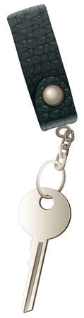 keycard: Illustration of a topview of a key with a keychain on a white background Illustration