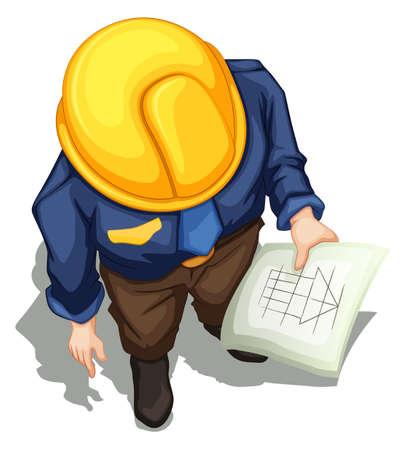 Illustratie van een bovenaanzicht van een ingenieur werken op een witte achtergrond