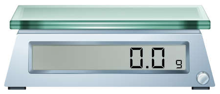 Illustration of a digital weighing scale on a white background Ilustração