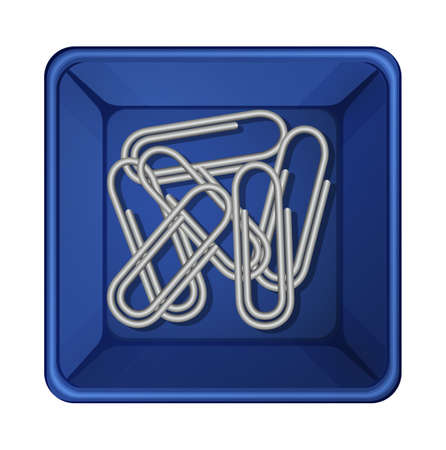Illustration of a topview of the paperclips inside a container on a white background Illustration