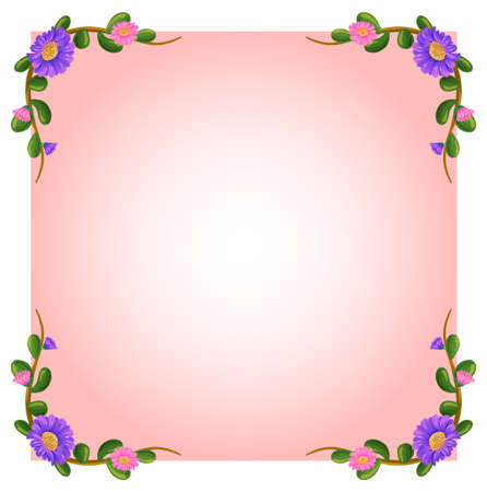 edges: Illustration of an empty pink template with floral margin on a white background Illustration