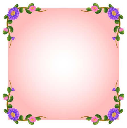 margen: Ilustración de un color rosa plantilla vacía con margen de flores sobre un fondo blanco Vectores