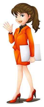 formal attire: Illustration of a busy woman on a white background
