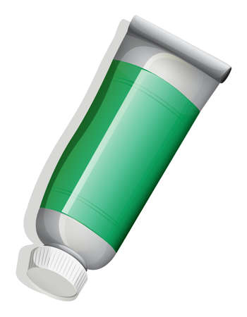 fluoride toothpaste: Illustration of a topview of a green medicinal tube on a white background