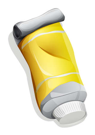 fluoride toothpaste: Illustration of a topview of a yellow tube on a white background