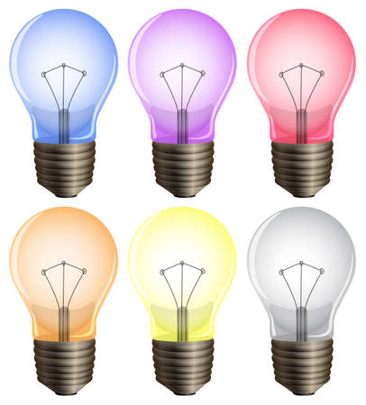 lumens: Illustration of the six light bulbs on a white background
