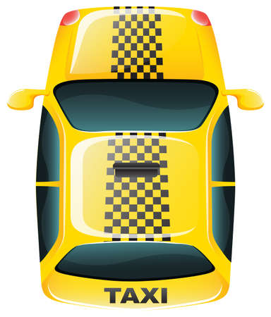 tinted: Illustration of a topview of a yellow taxi cab on a white background