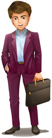 Illustration of a man holding a suitcase on a white background Vector