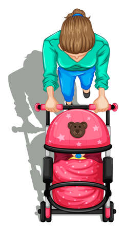 Illustration of a topview of a mother pushing a stroller with a baby on a white background Vector