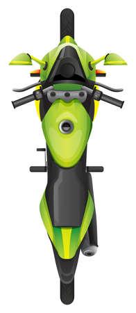 Illustratie van een bovenaanzicht van een motorfiets op een witte achtergrond