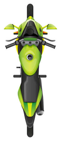 motorised: Illustration of a topview of a motorcycle on a white background