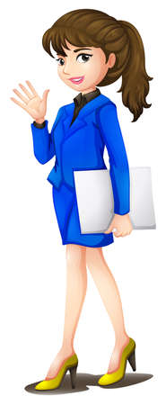 smart girl: Illustration of a n office secretary wearing a blue uniform on a white background