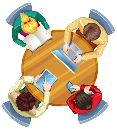 table top: Illustration of a topview of busy people on a white background